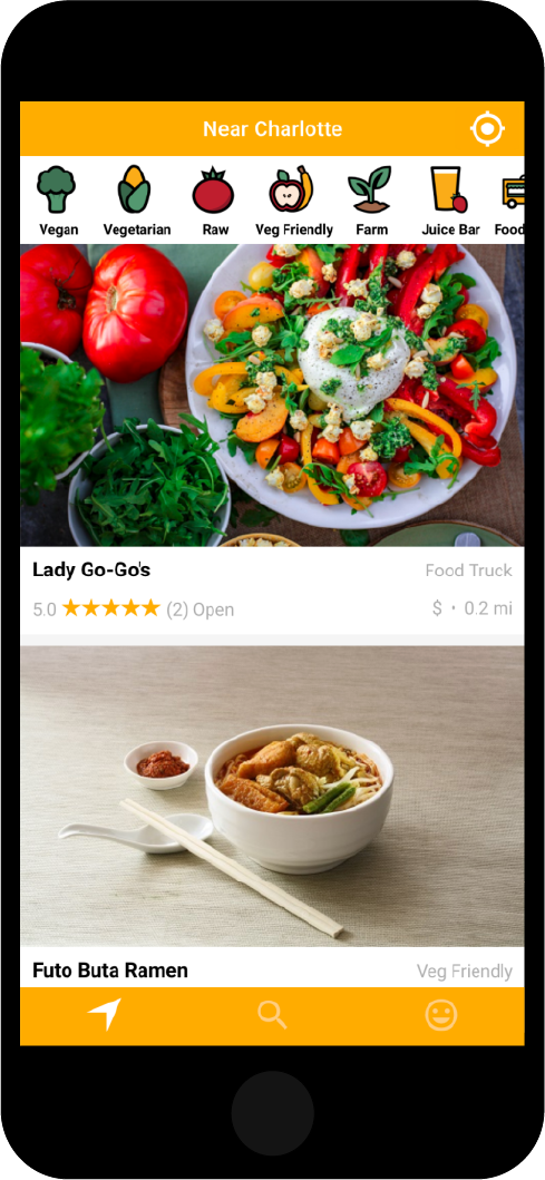 Nearby Vegan and Vegeterian Restaurants on your Mobile Device